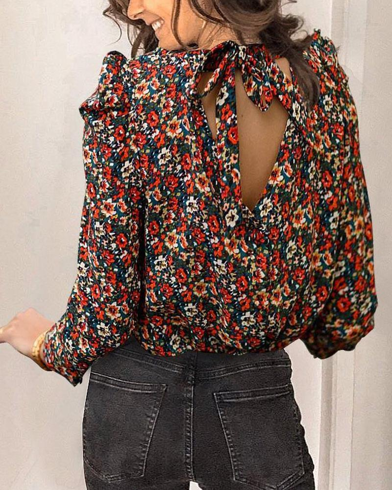 Outlet26 Back Tie Floral Print Blouse MultiStyle