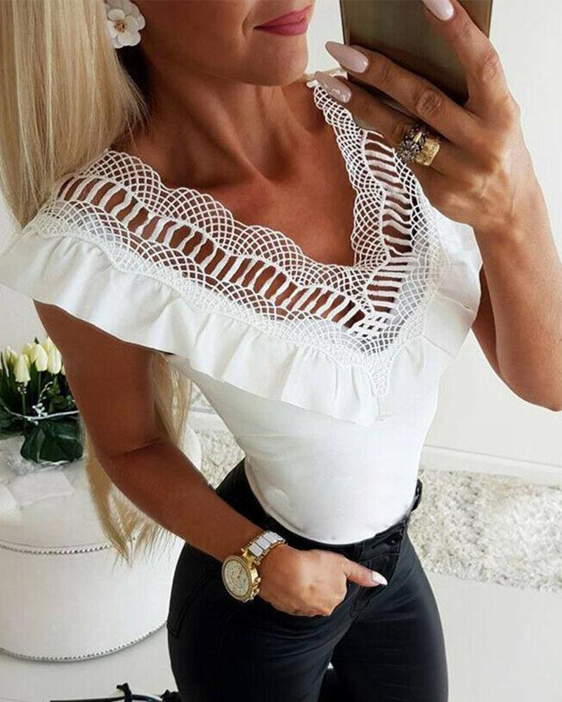 V Neck Lace Ruffle Trim Top