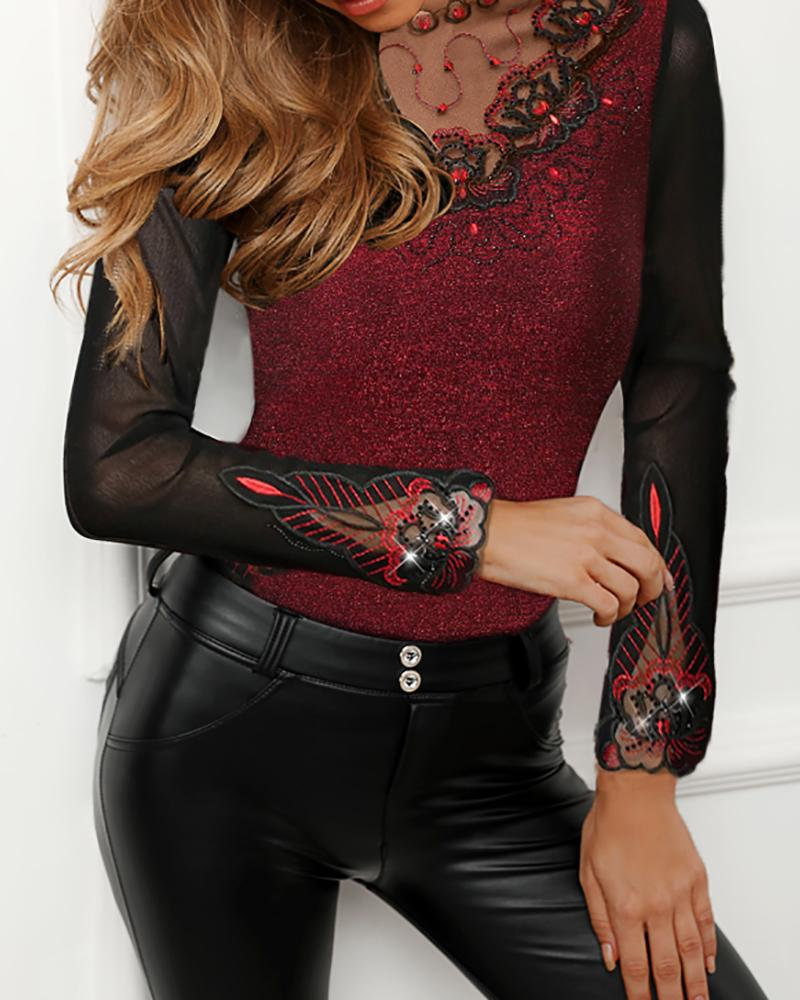 Sheer Mesh Flower Embroidery Blouse