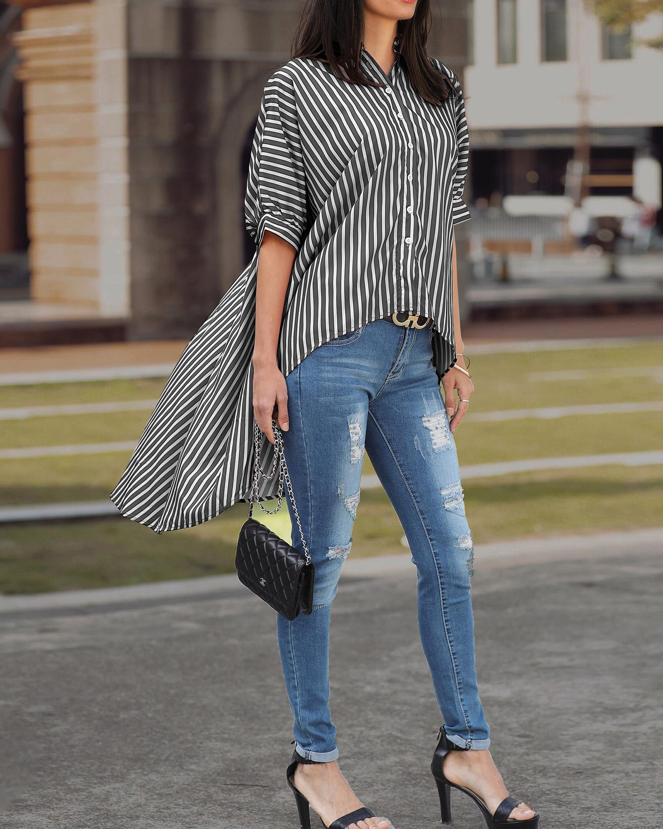 Striped Batwing Sleeve Dip Hem Blouse