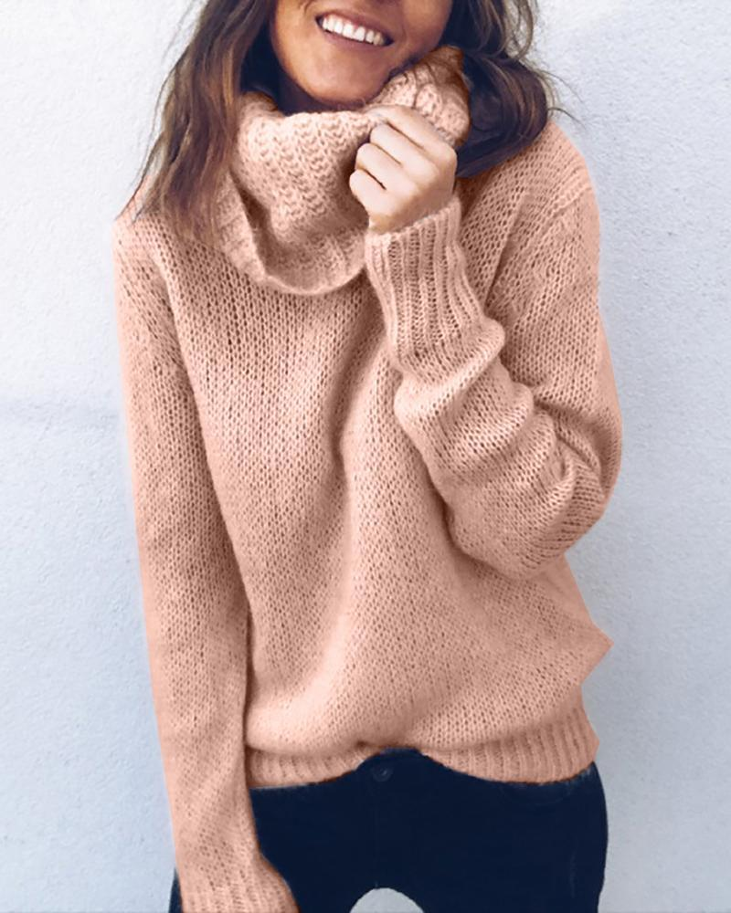 Outlet26 Solid High Neck Long Sleeve Casual Sweater pink