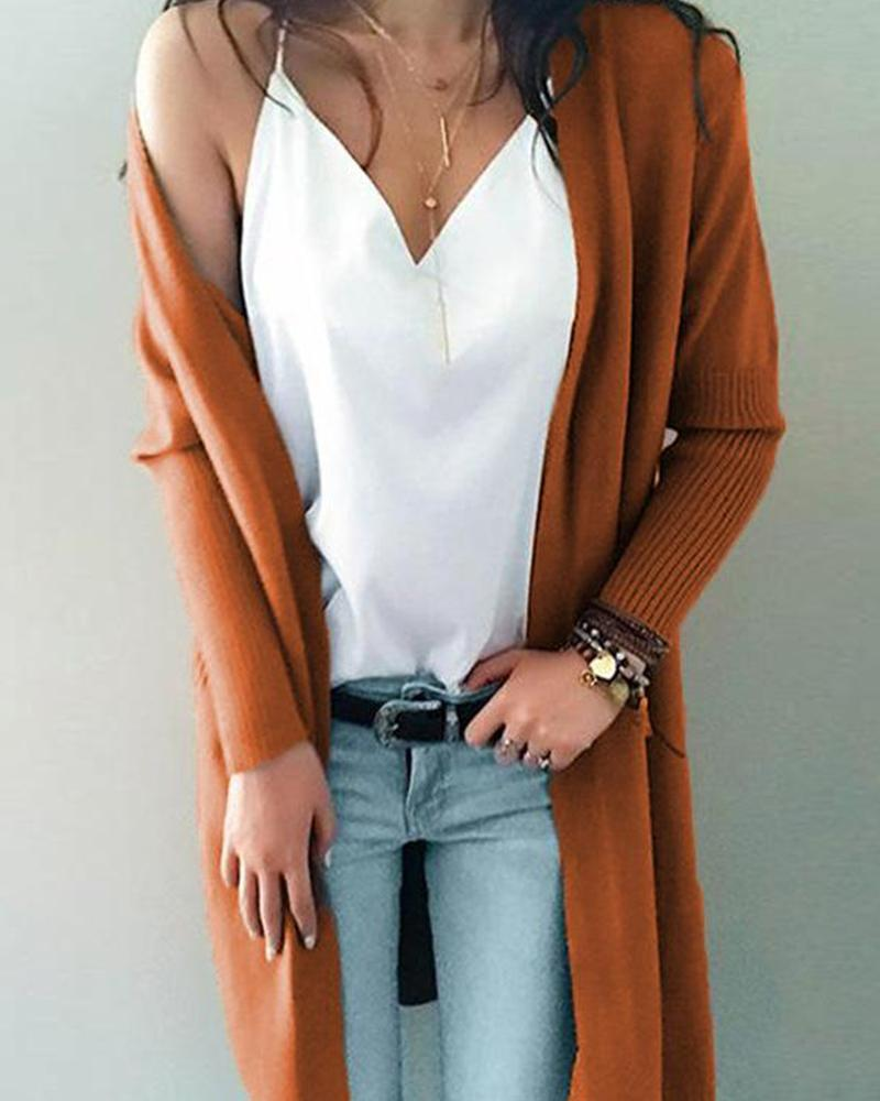 Solid Puff Sleeve Knit Cardigan