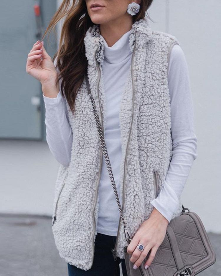Fluffy Zipper Pocket Design Sleeveless Coats