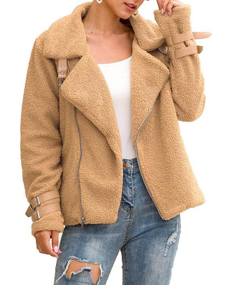 Notch Lapel Solid Teddy Coat