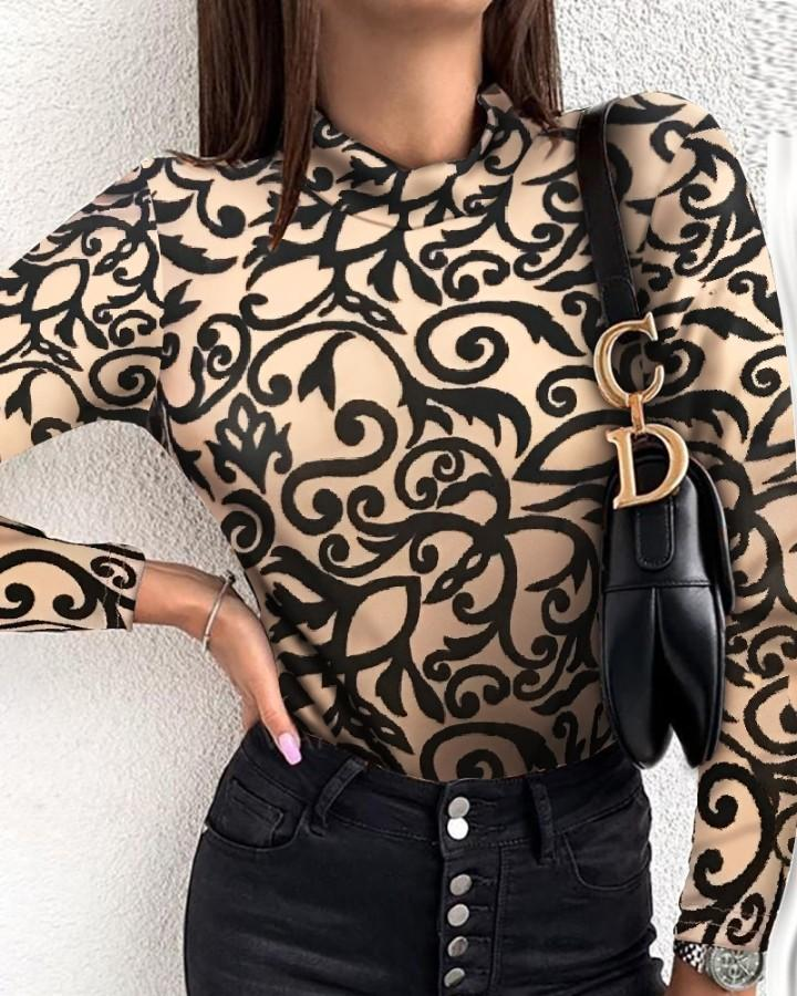 Outlet26 Retro Print Long Sleeve Casual Blouse brown