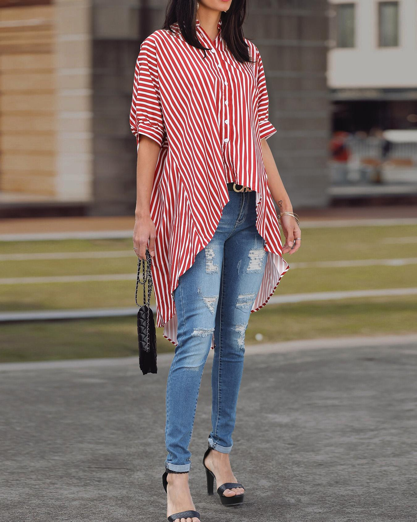 Outlet26 Striped Batwing Sleeve Dip Hem Blouse red