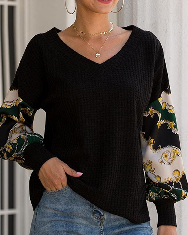 V Neck Printed Sleeve Top