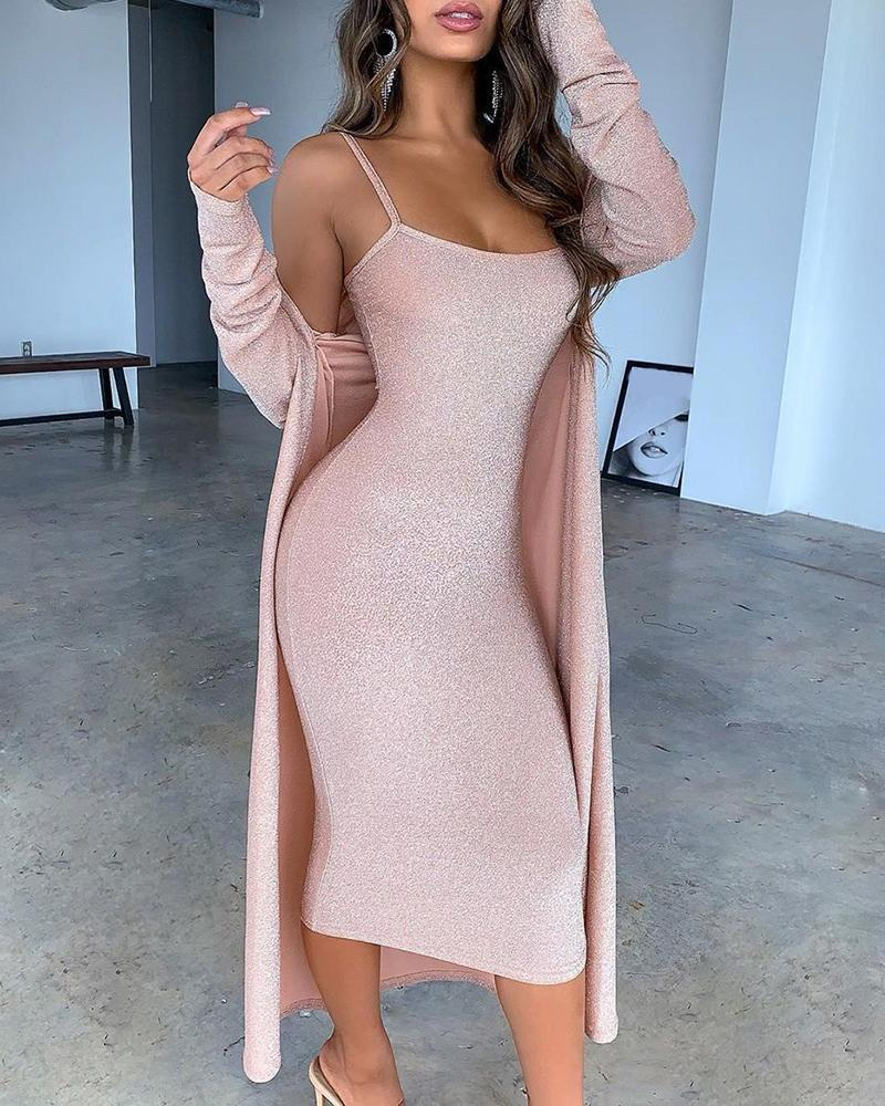 Outlet26 Glitter Spaghetti Strap Midi Dress With Cardigan Coat pink