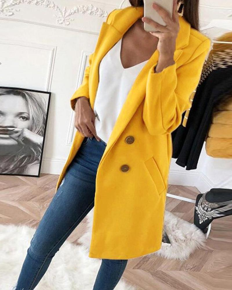 Outlet26 Button Detailed Shawl Collar Coat yellow