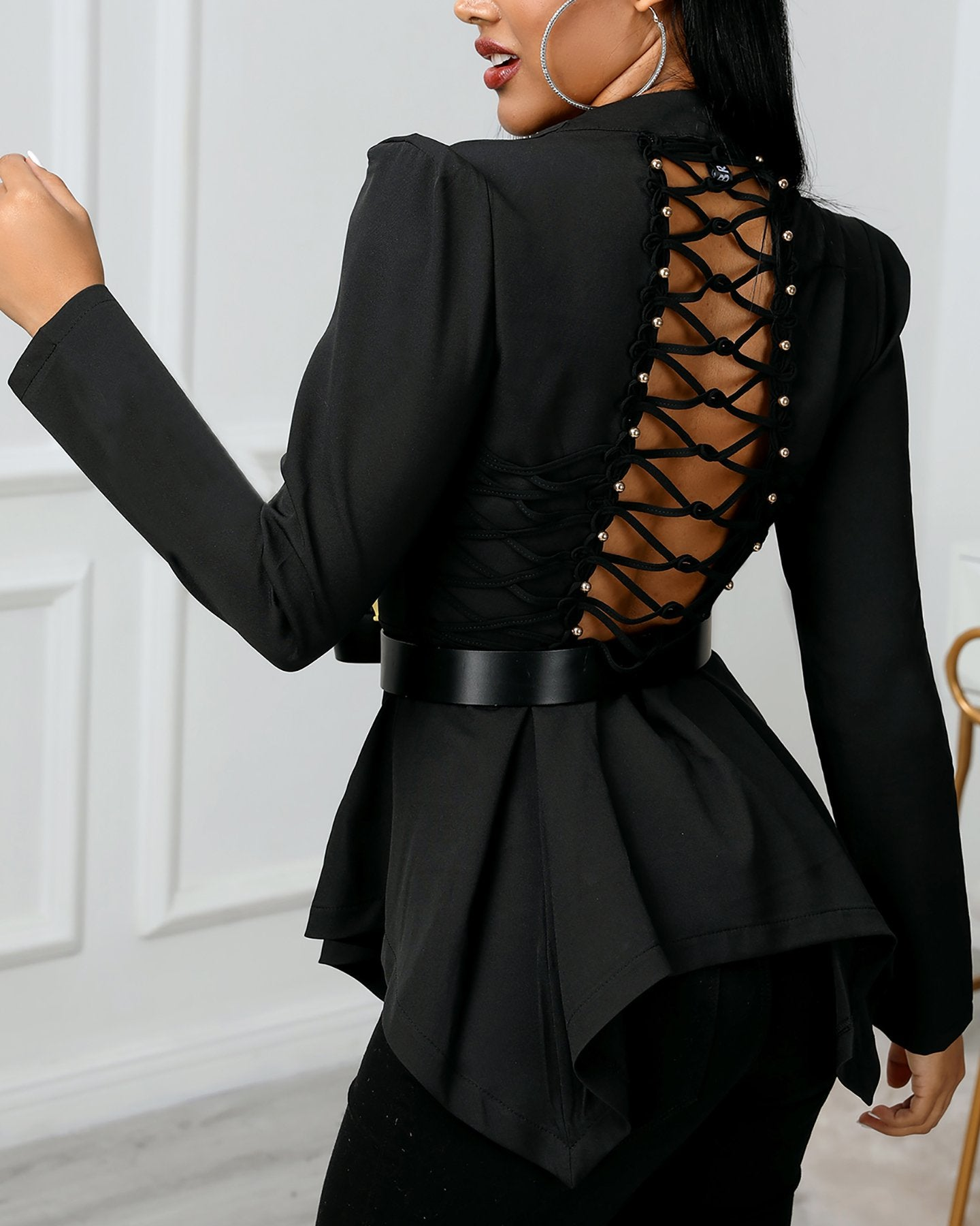 Solid Backless Lace-Up Design Blouse