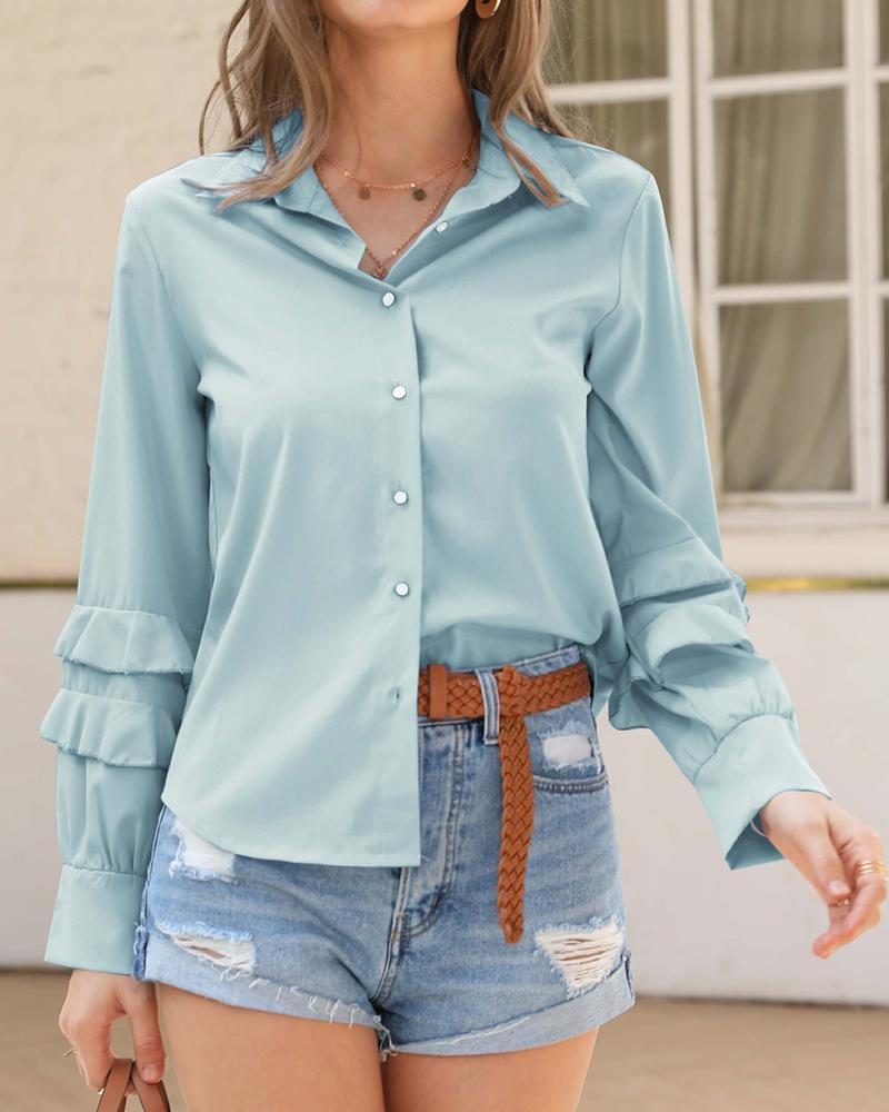 Solid Button Ruffle Sleeve Blouse