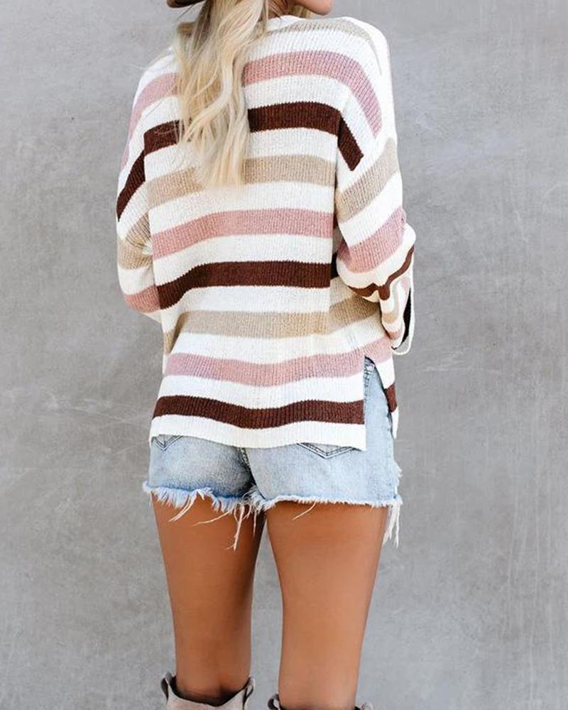 Long Sleeve Draped Striped Ribbed Sweater