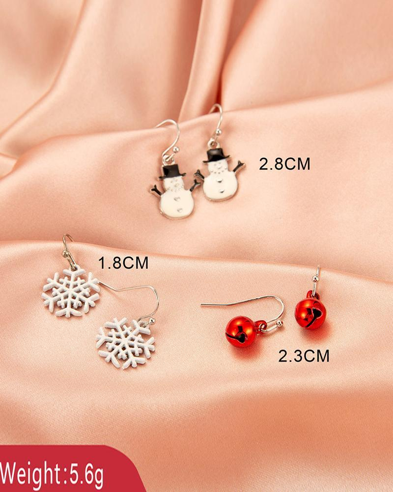 Christmas Tree / Snowflake / Moose Pattern Drop Earring (S2 & S3 For A Set)