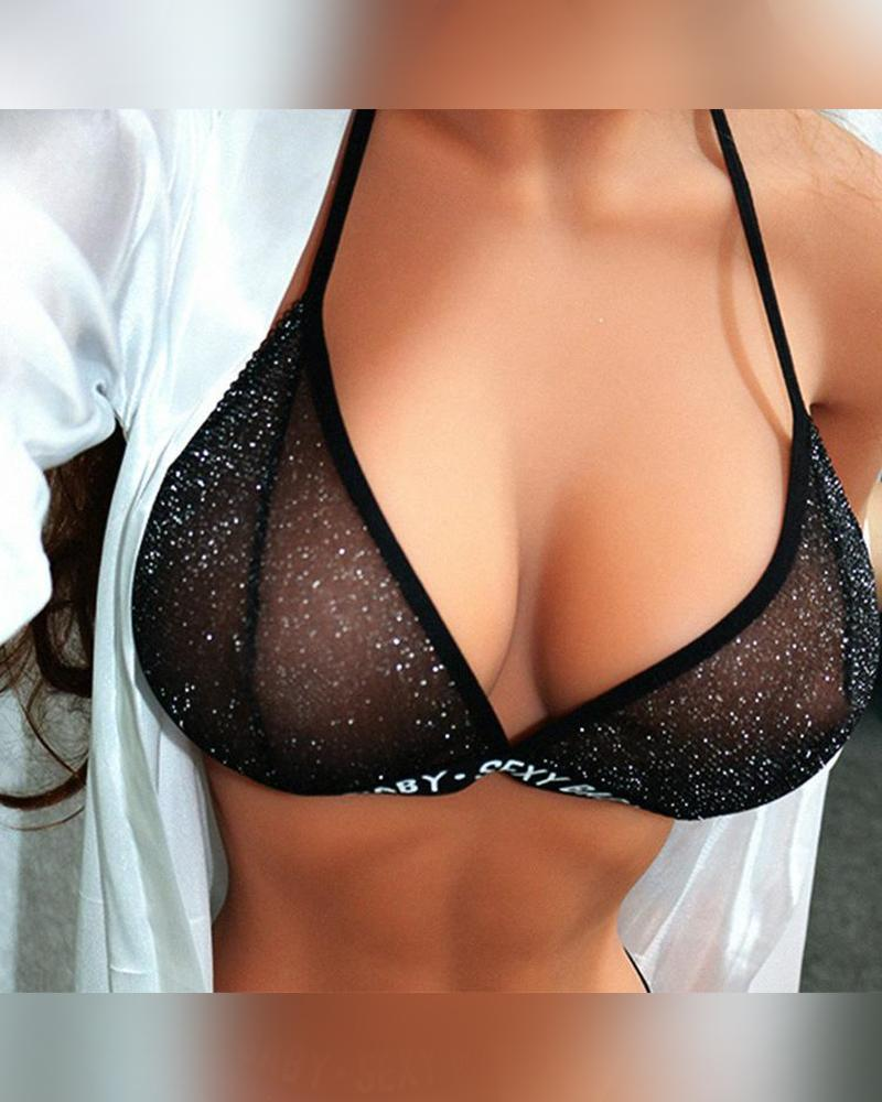 Solid Letter Banded Strap Bra With Panties Suit Sets
