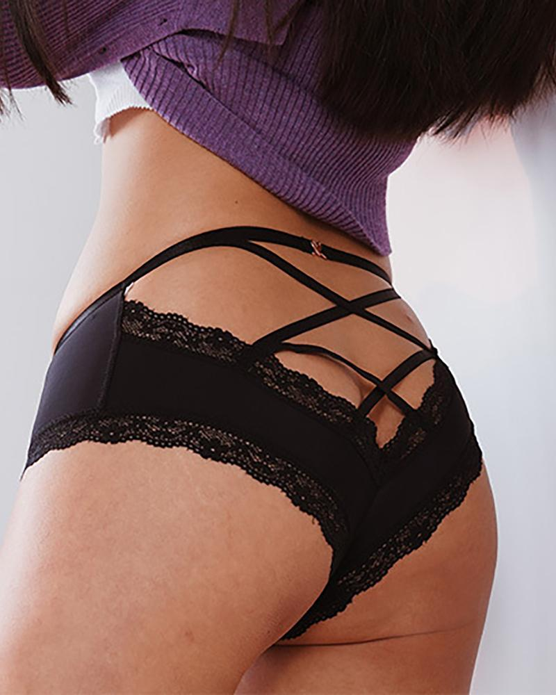Lace-up Back Lace Trim Panty
