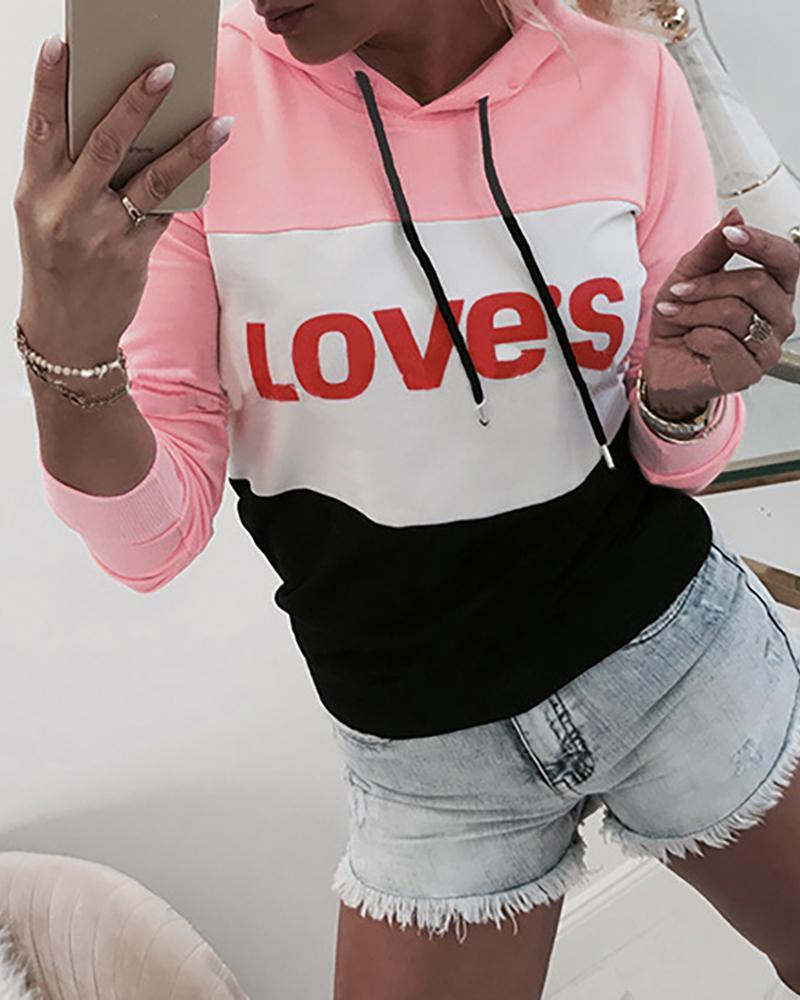 Outlet26 Hooded Styleblock Letter Print Drawstring Sweatshirt pink