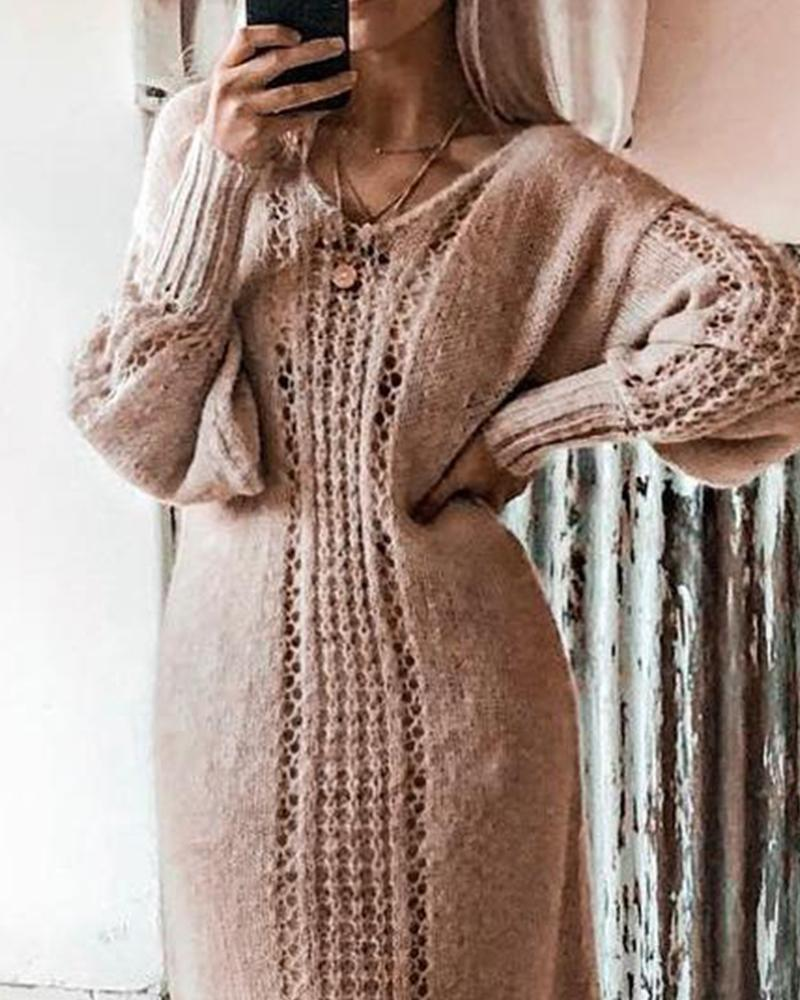 Solid Pointelle Midi Sweater Dress