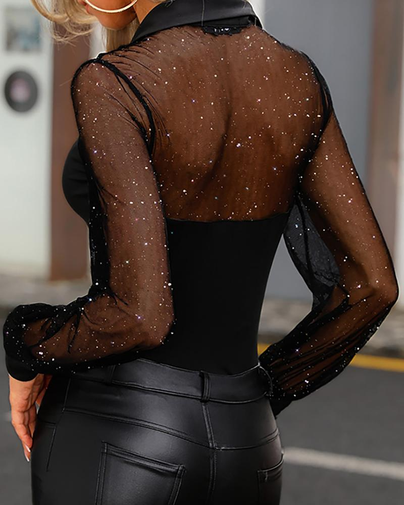 Glitter Semi Sheer Mesh Shirt