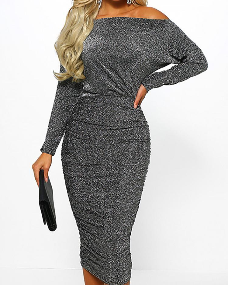 Outlet26 Glitter Off Shoulder Ruched Midi Dress silver
