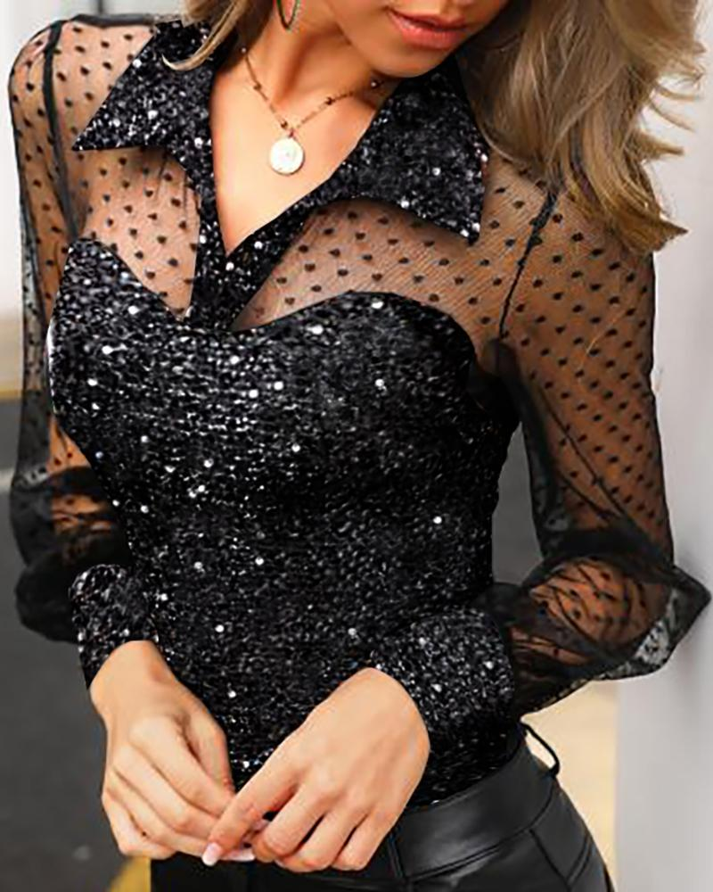 Dot Sheer Mesh Yoke Sequins Blouse