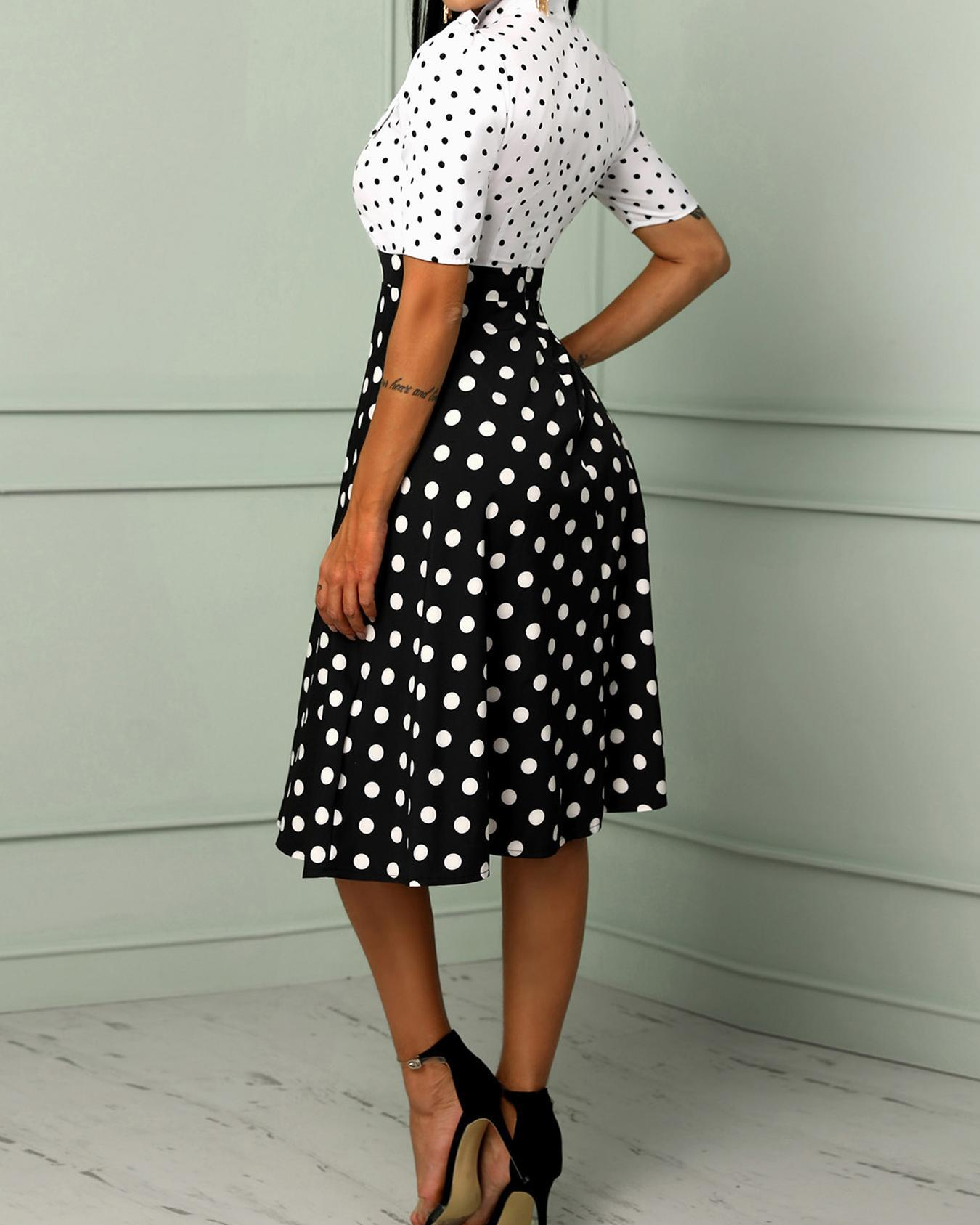 Dot Puffed Sleeve Tied Neck Casual Dress