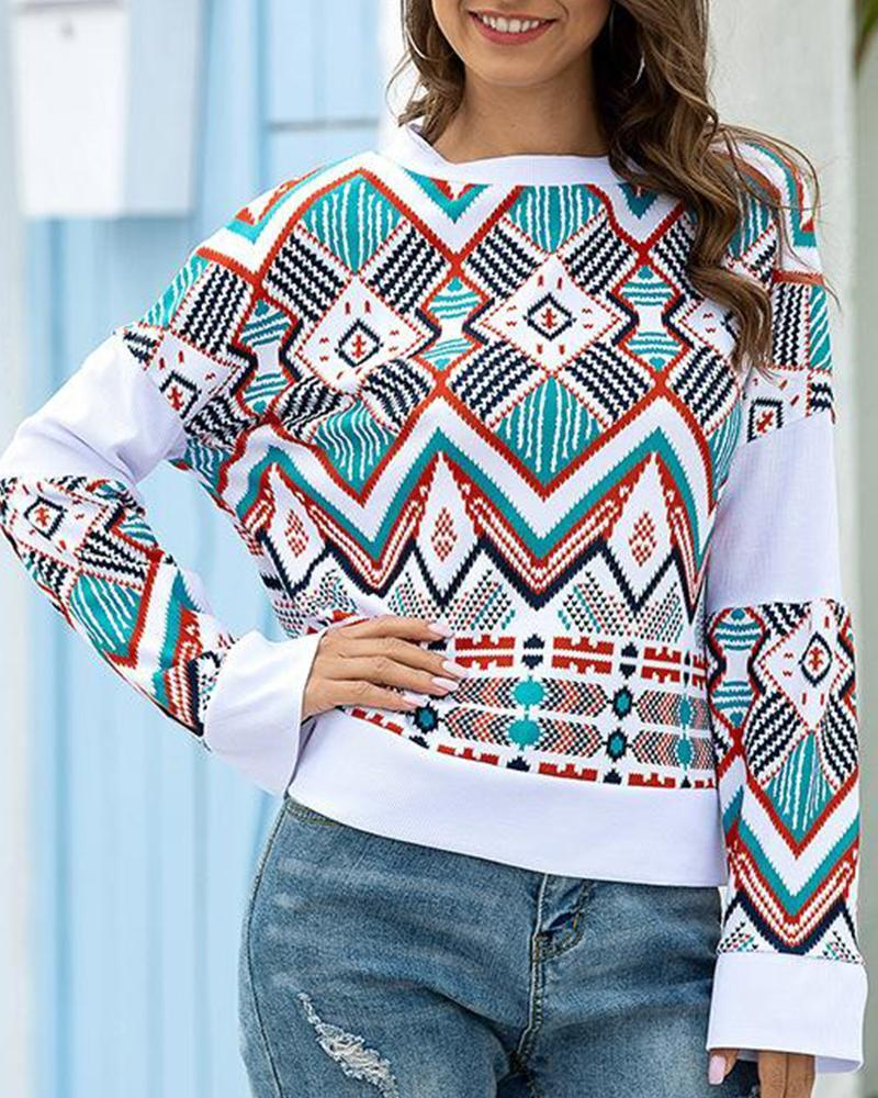 Outlet26 Geometric Print Long Sleeve Top white