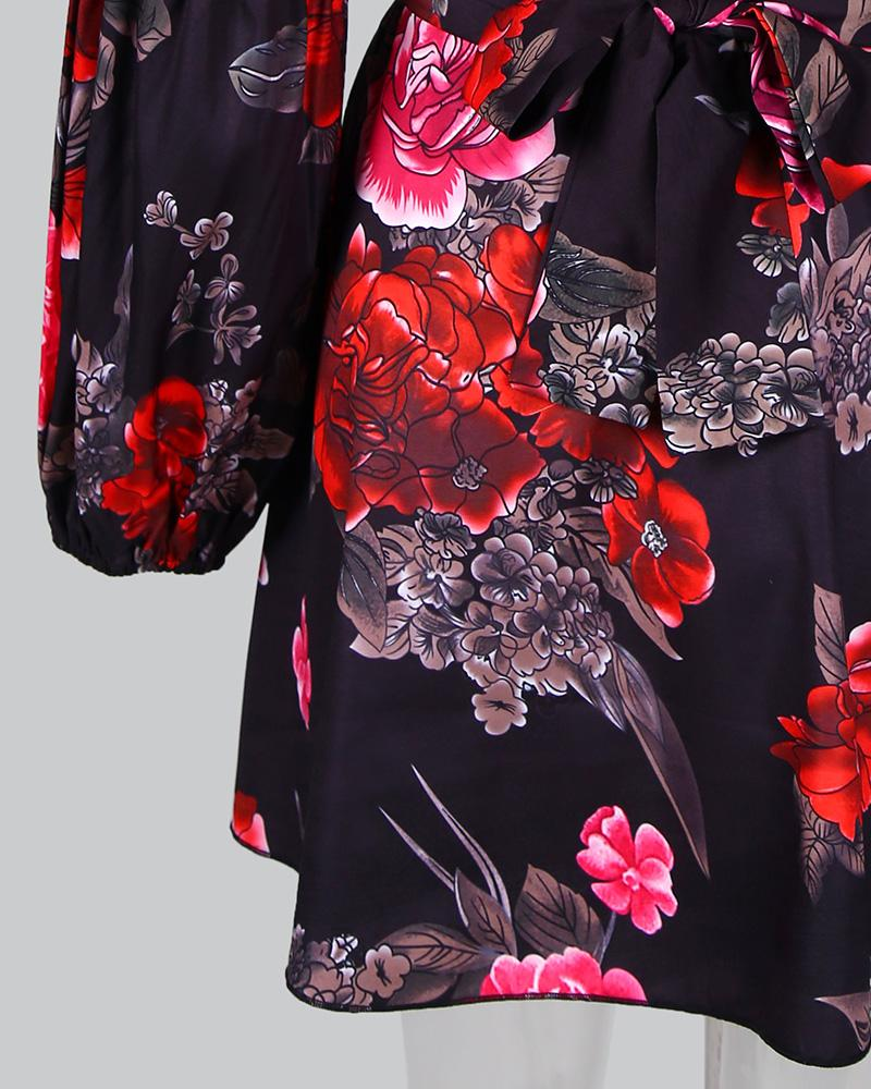 Floral Lantern Sleeve Tight Waist Dress