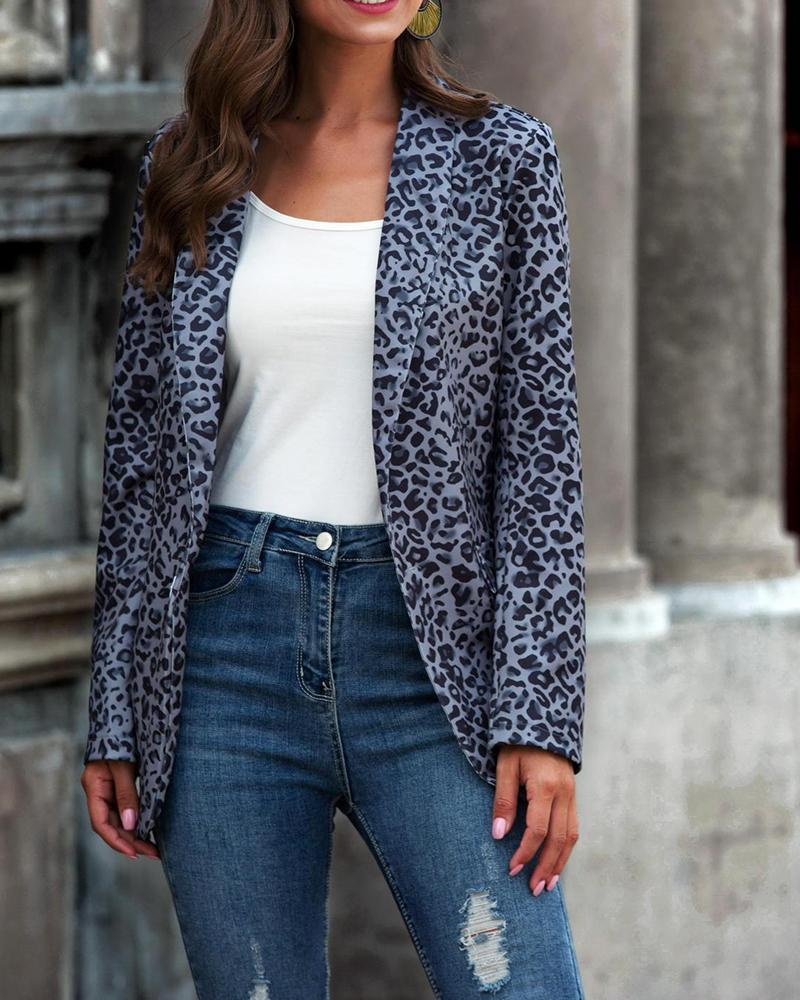Leopard Print One Button Blazer