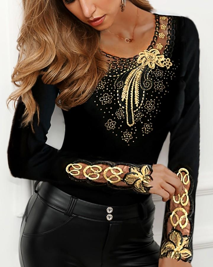 Outlet26 Flower Pattern Studded Detail Blouse gold