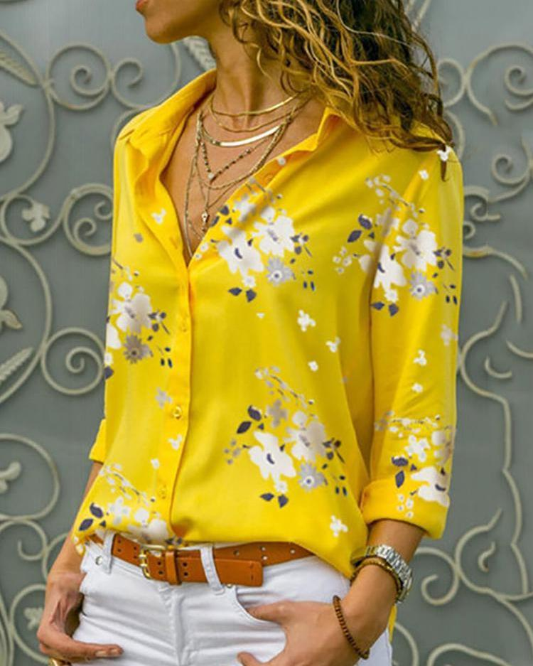 Outlet26 Floral Print Long Sleeve Casual Shirt yellow