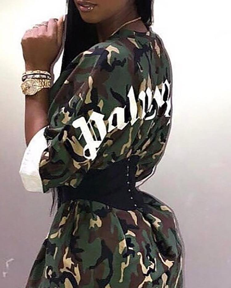 Camouflage & Letter Print Belted Mini Dress