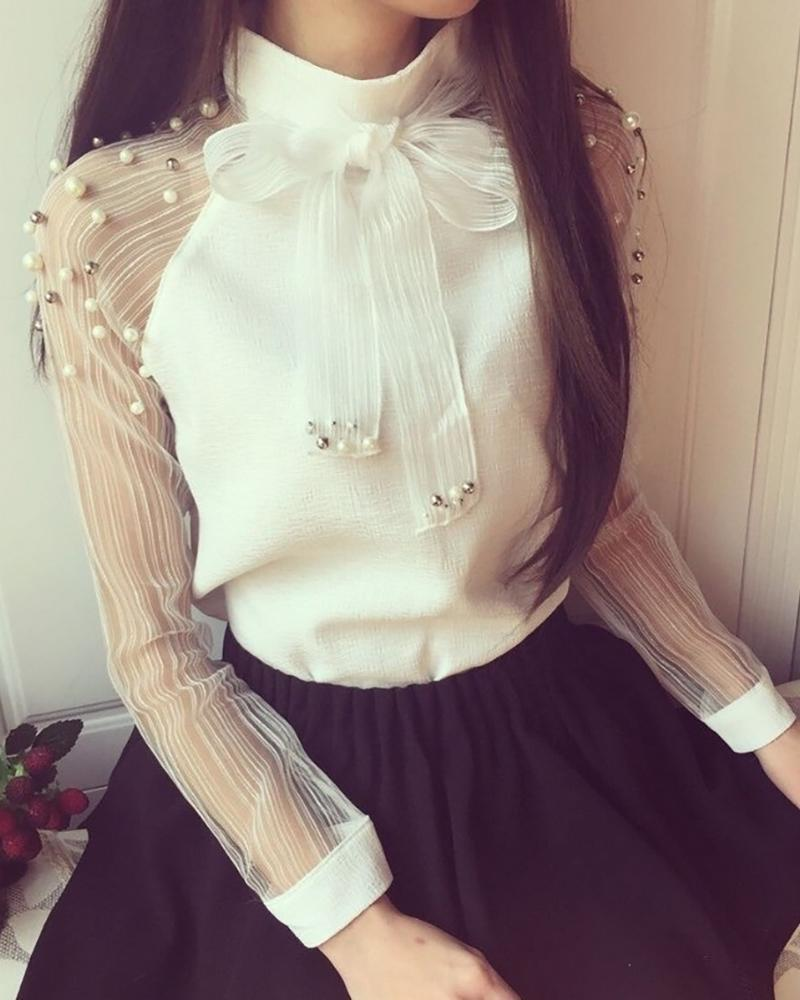 Sheer Mesh Sleeve Beaded Blouse
