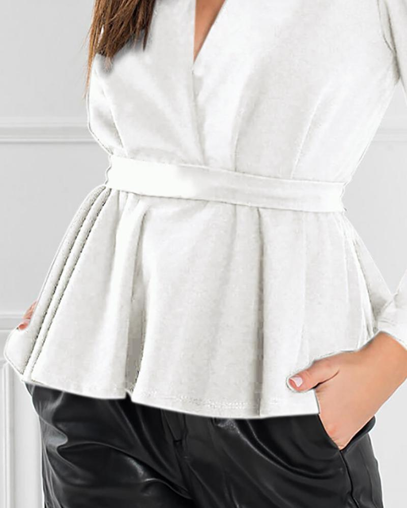 Solid Plunge Puffed Sleeve Blouse