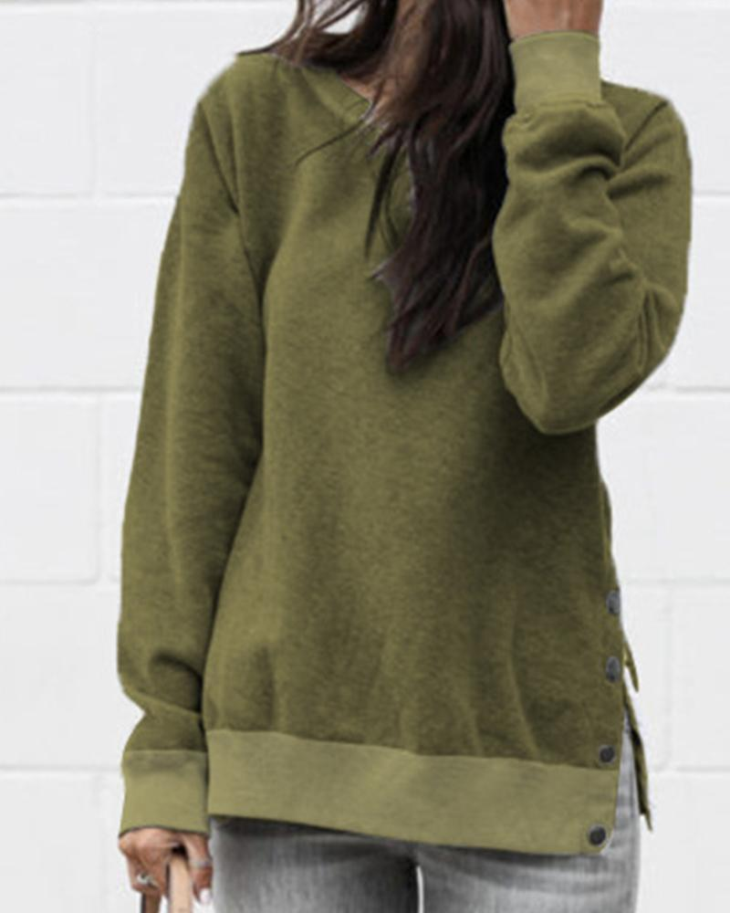 Solid Button Slit Long Sleeve Sweatshirt