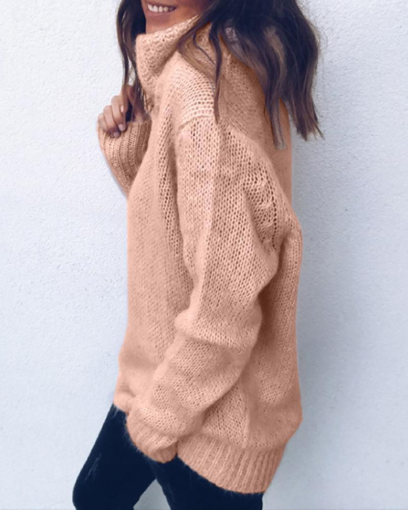 Solid High Neck Long Sleeve Casual Sweater
