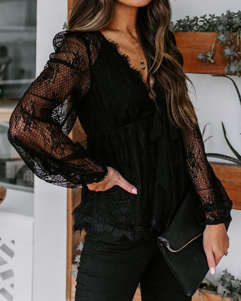 V Neck Lace Mesh Top
