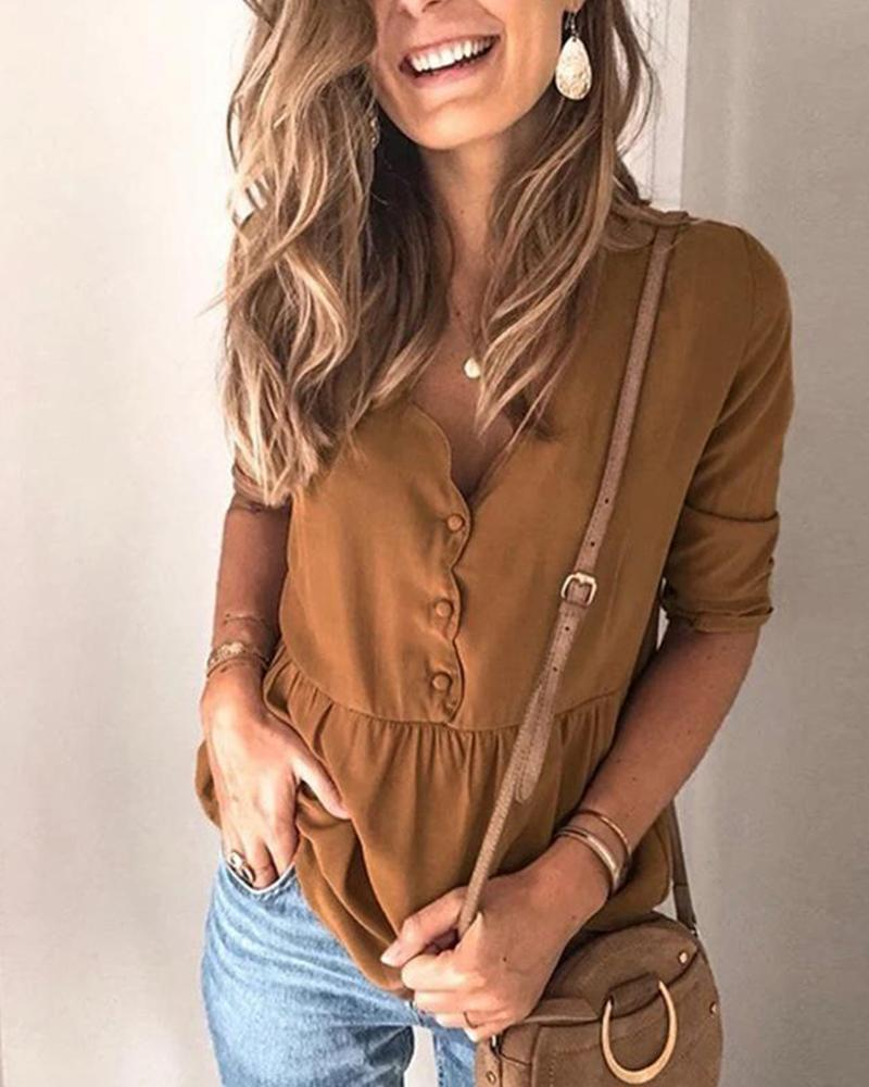 Outlet26 Solid Button Front Smocked Top coffee
