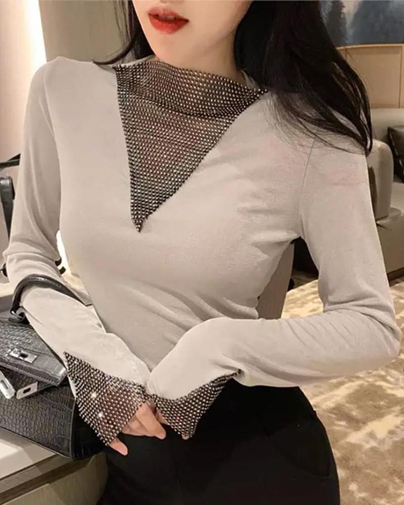 Sequins Design Long Sleeve Blouse