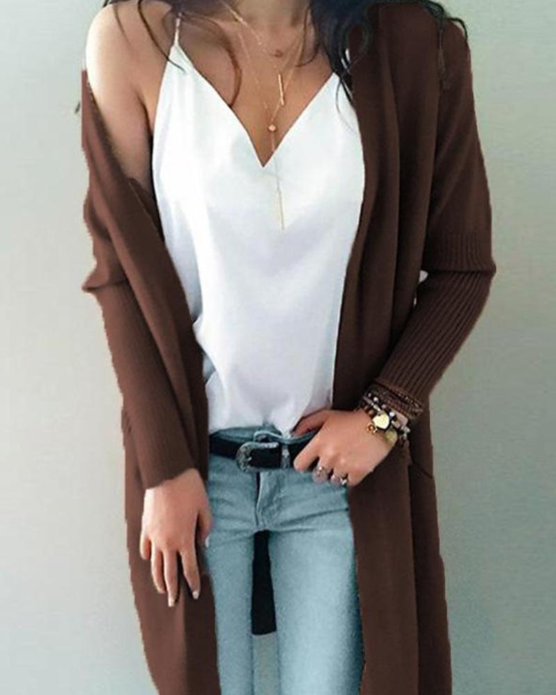 Outlet26 Solid Puff Sleeve Knit Cardigan coffee