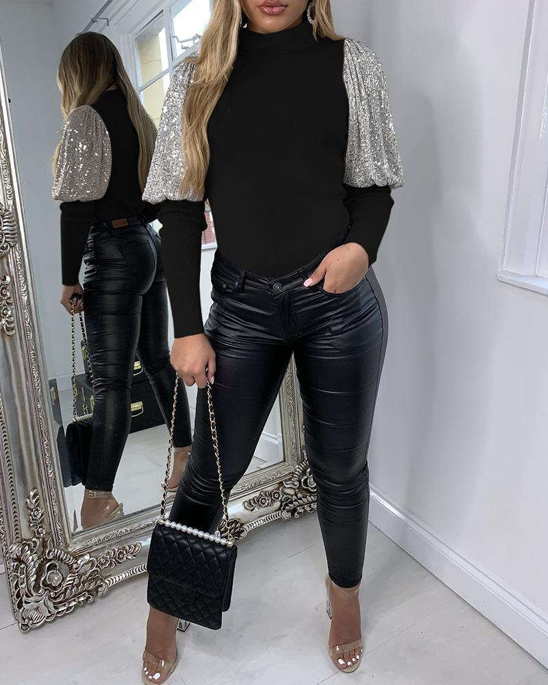 Long Sleeve Sequin Casual Blouse