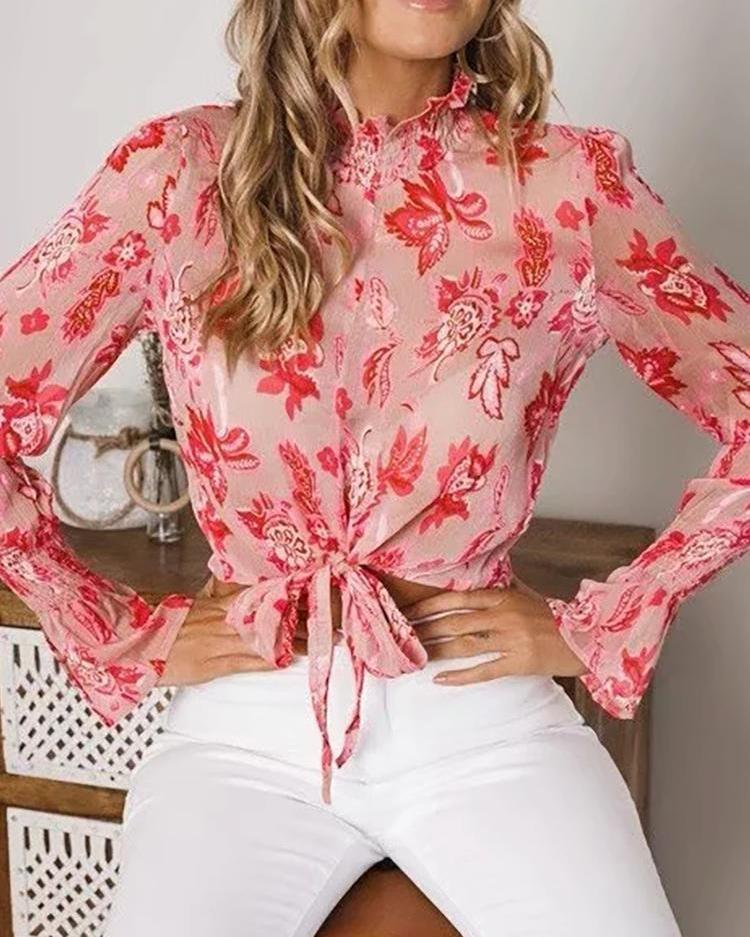 Outlet26 Floral Print Knot Front Crop Blouse red