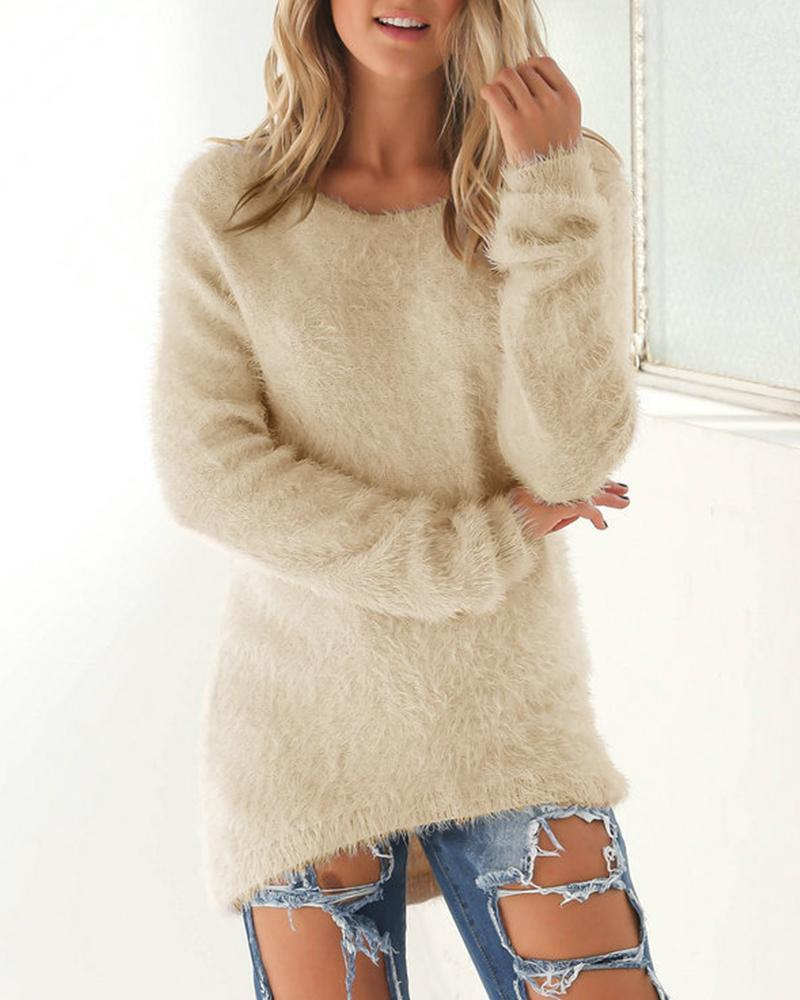 Outlet26 Faux Fleece Straight Fit Sweater Apricot