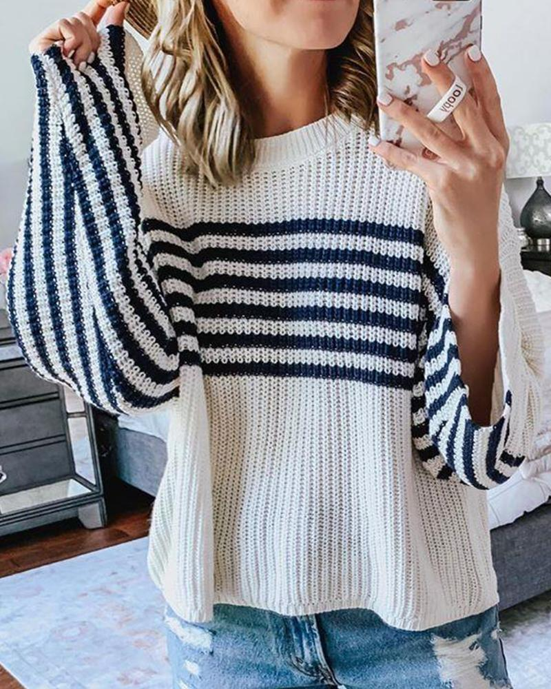 Outlet26 Round Neck Striped Loose Knit Sweater white