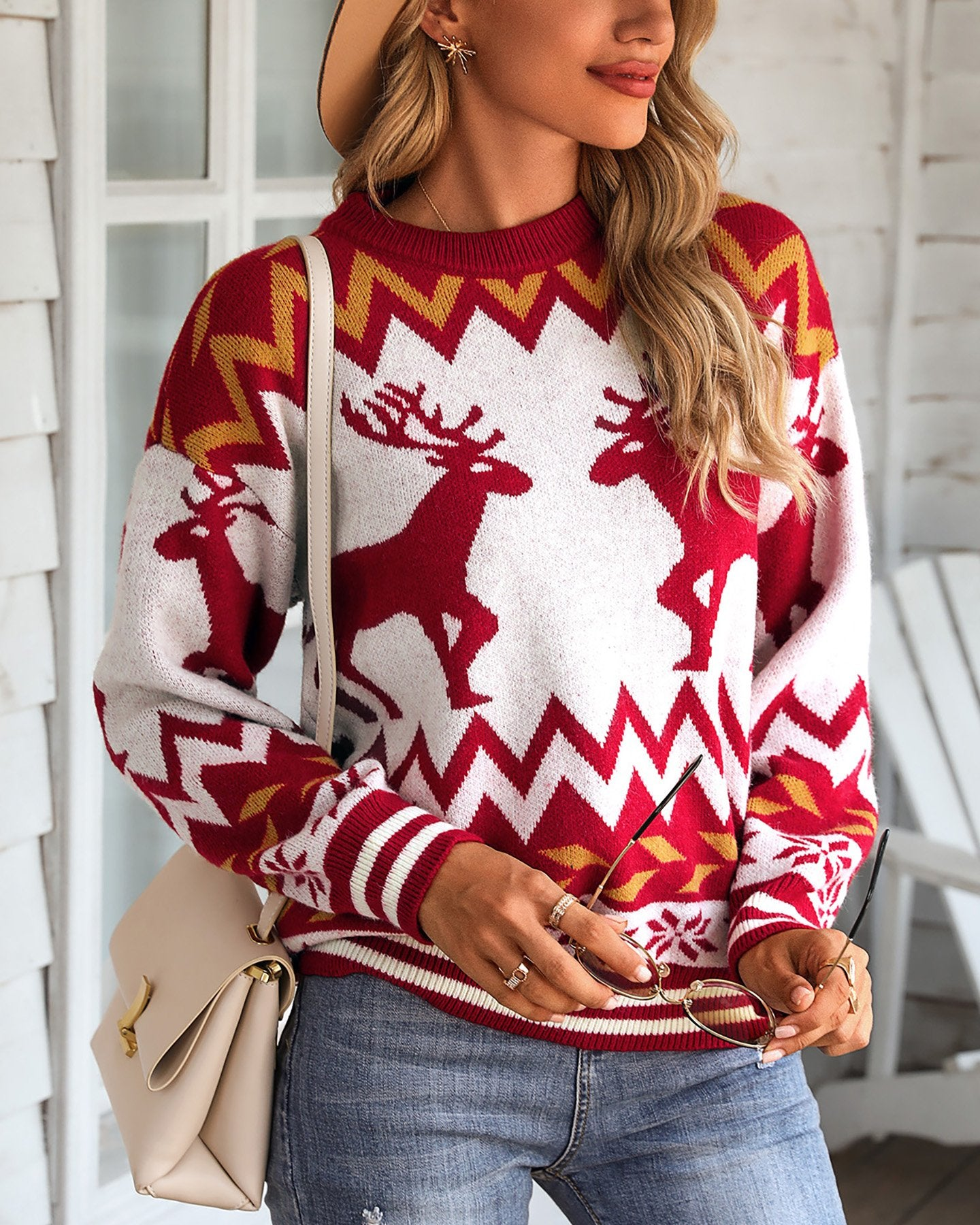Christmas Reindeer Print Knit Ugly Sweater