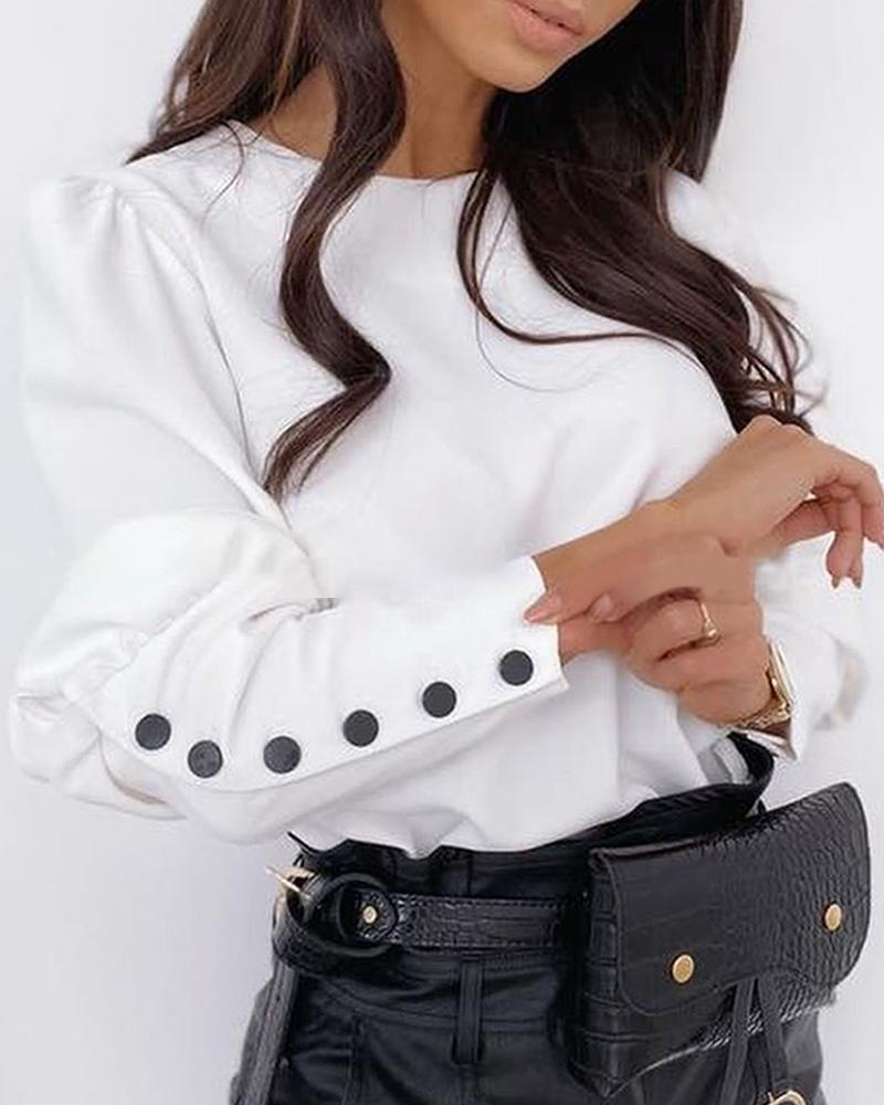 Solid Puff Sleeve Buttoned Design Shirt