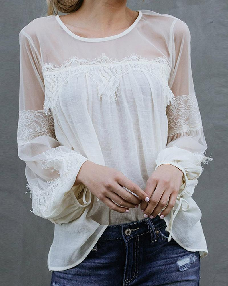 Round Neck Lace Mesh Top