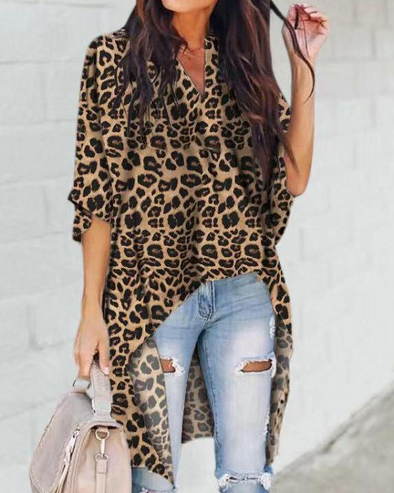 Outlet26 Leopard Batwing Blouse gray