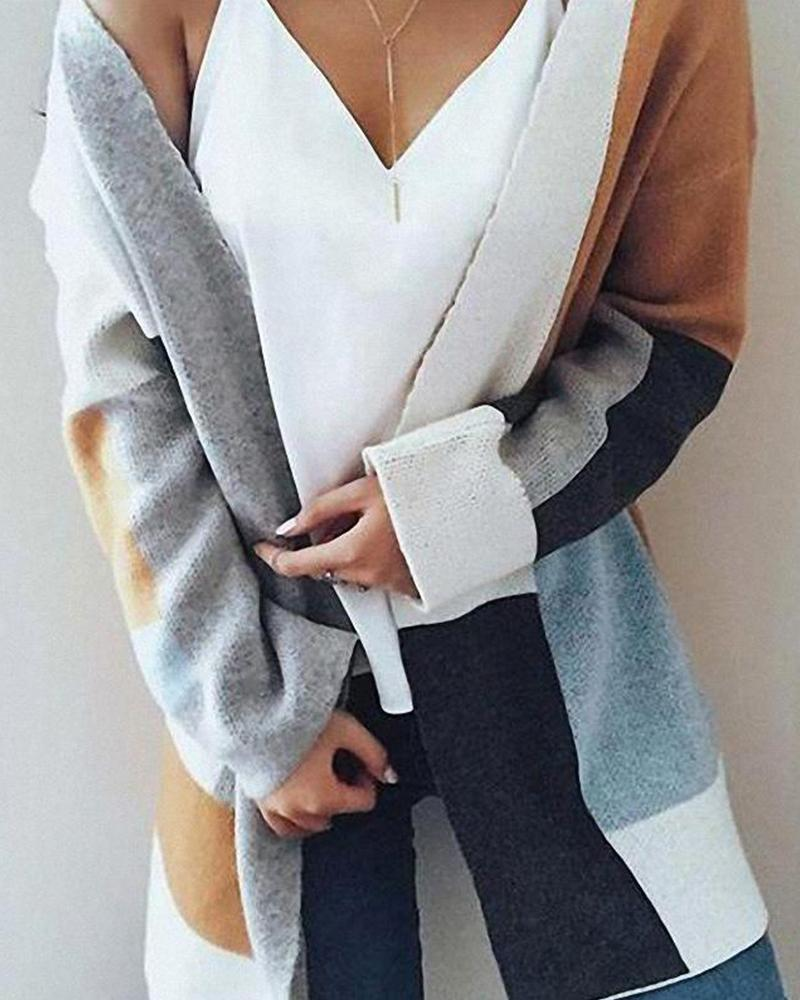 Open Front Colorblocks Knitted Cardigan