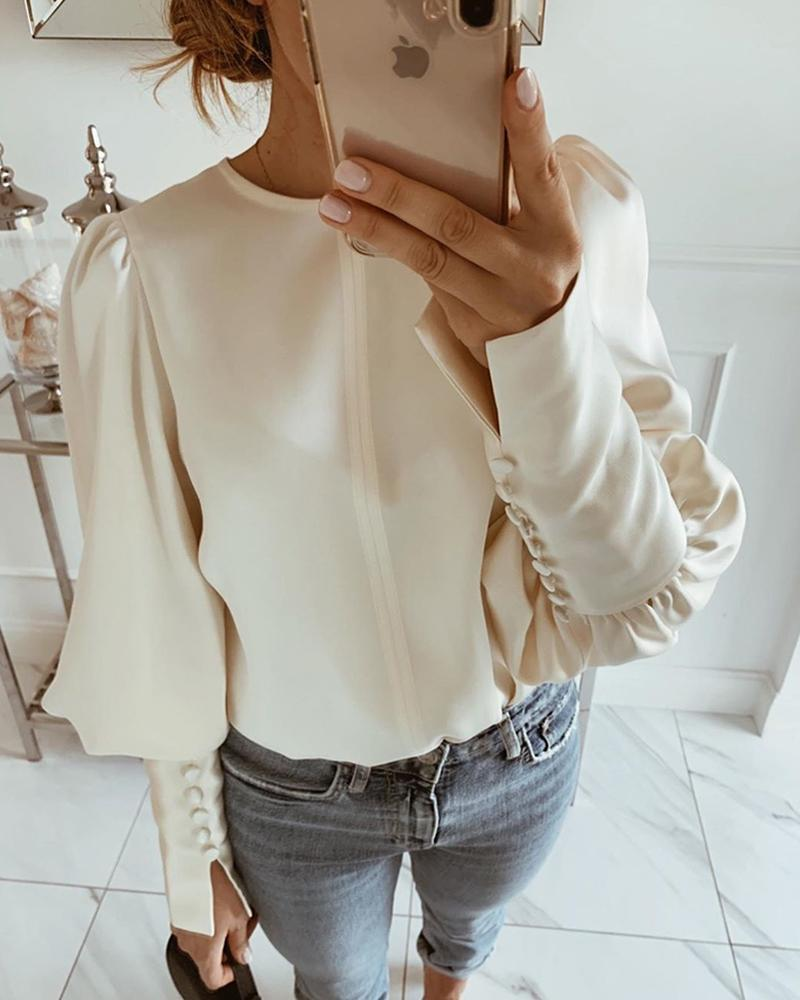 Outlet26 Solid Round Neck Balloon Sleeve Blouse Apricot