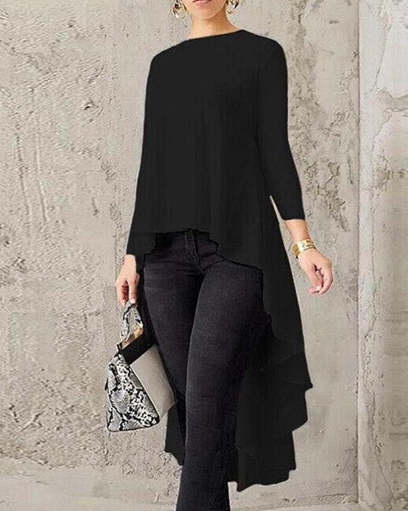 Outlet26 Solid Long Sleeve High Low Top black